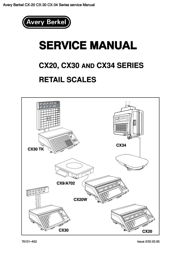 Avery Berkel CX-20 CX-30 CX-34 Series service manual PDF