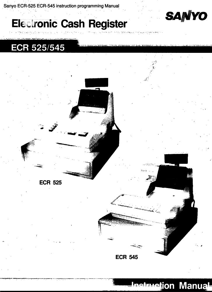 Sanyo ECR-525 ECR-545 instruction programming manual PDF