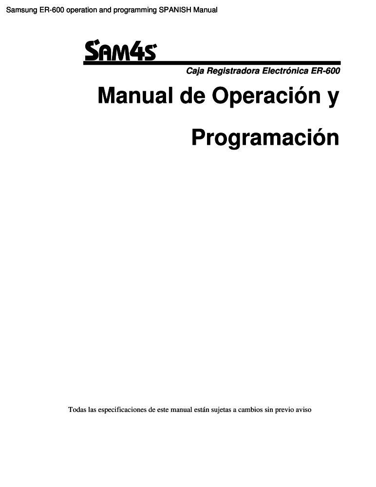 Samsung ER-600 operation and programming SPANISH manual