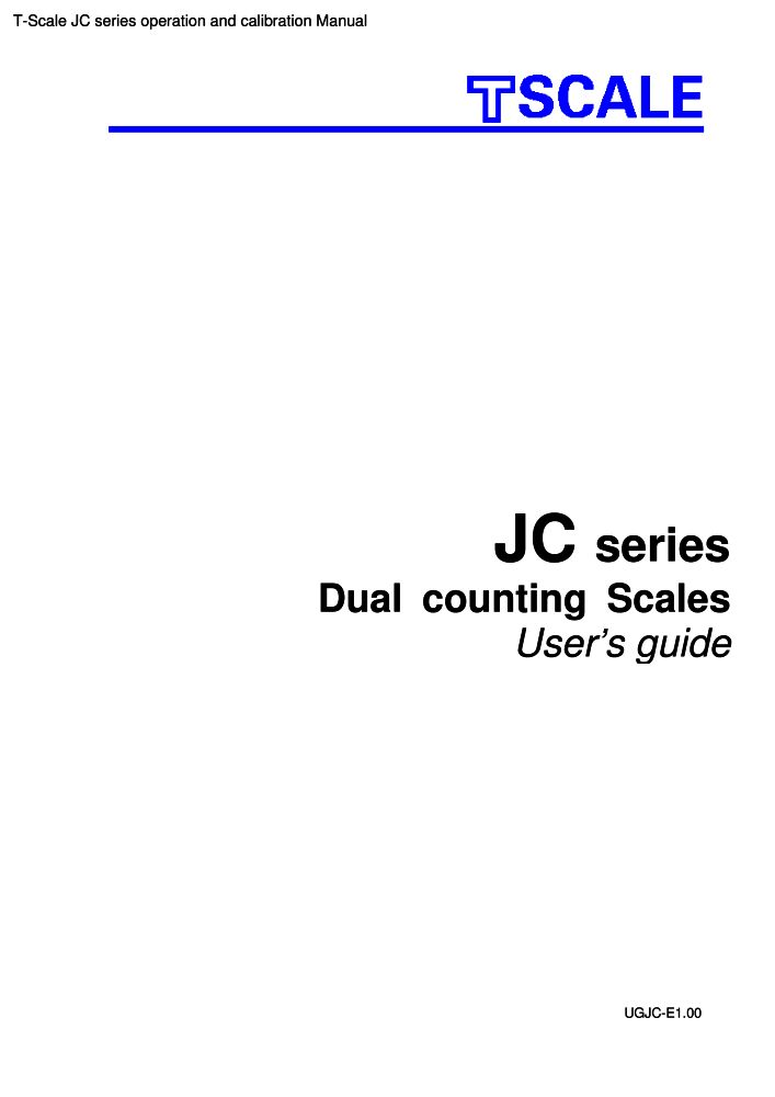 T-Scale JC series operation and calibration manual PDF