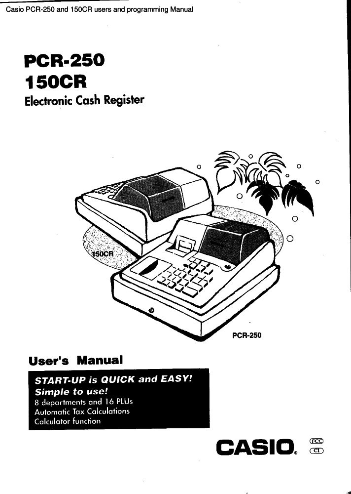 Casio PCR-250 and 150CR users and programming manual PDF