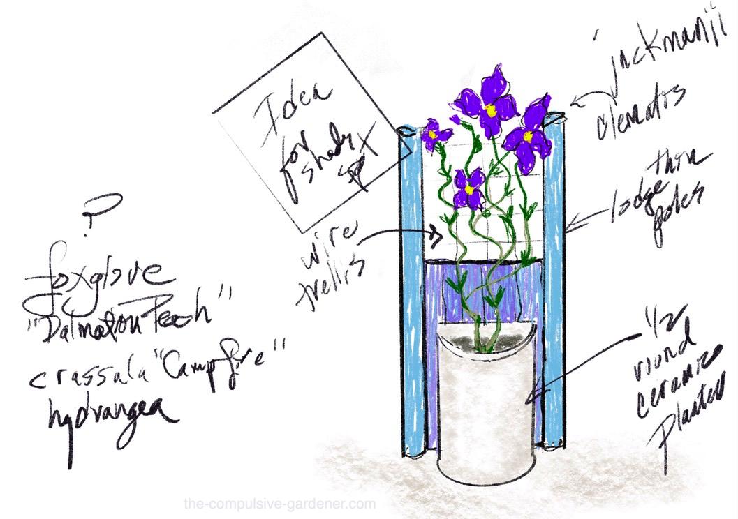 Shady nook garden design sketch