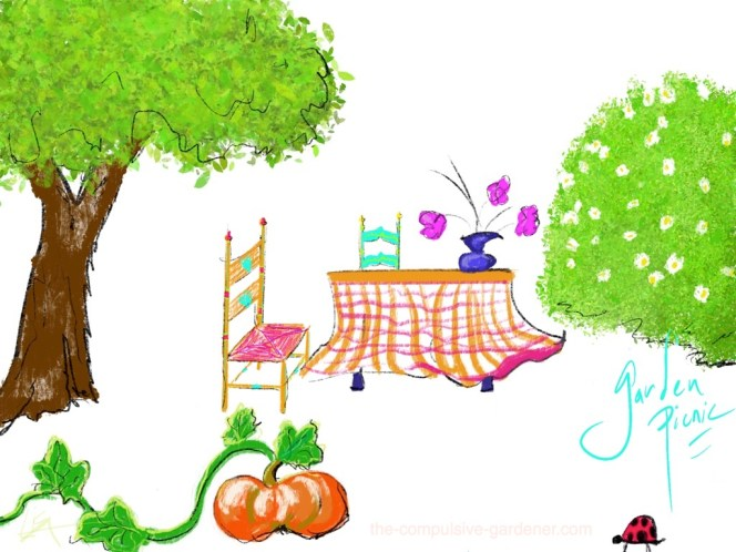 Garden Picnic | digital art by lisa at the-compulsive-gardener.com