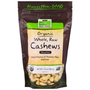 Now Foods, Real Food Organic, Whole, Raw Cashews, Unsalted