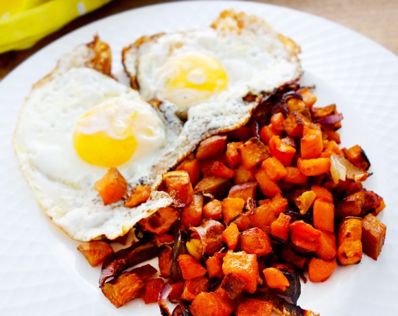 Anytime Sweet Potato, Carrot, Onion and Garlic Hash