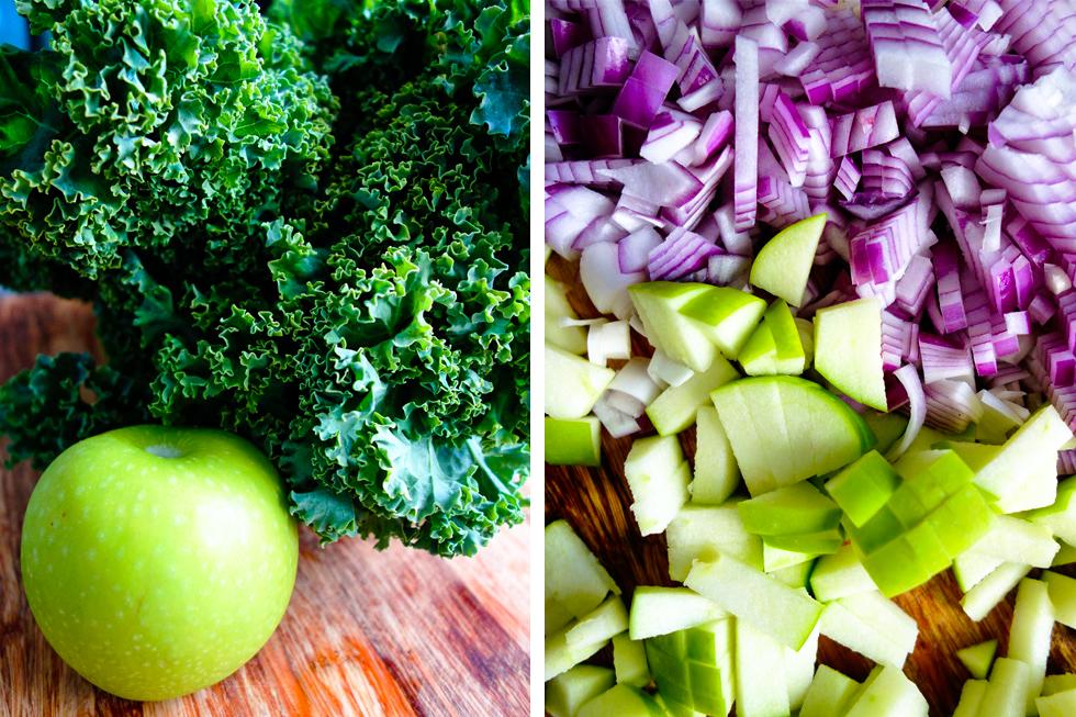 Sautéed Apple and Kale ingredients