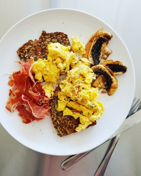 Nordic Nut and Seed Bread with Prosciutto and Scrambled Eggs