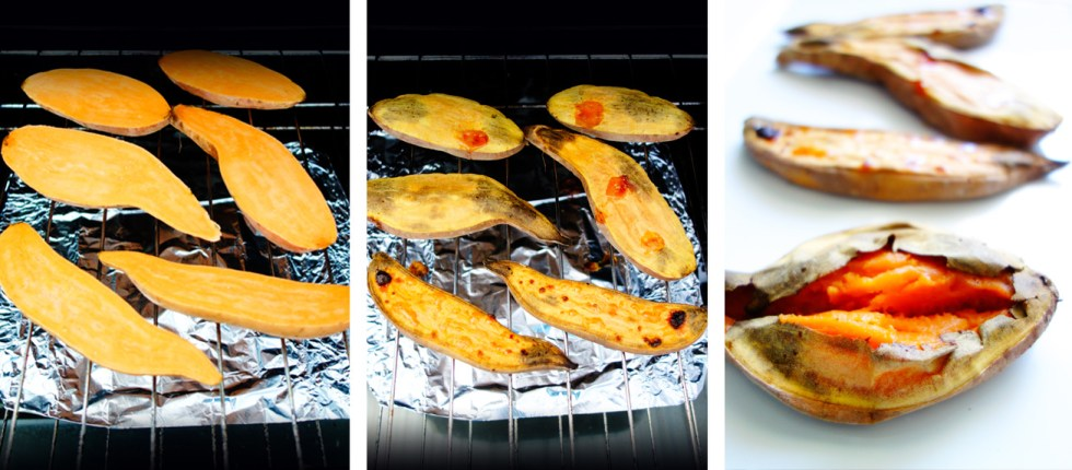 Simple Caramelised Sweet Potato Boats cooking steps