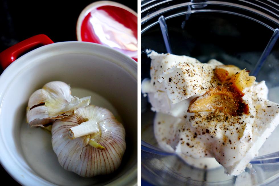 Roast Garlic Whipped Feta Steps