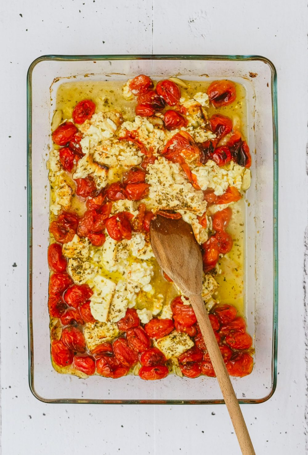 Easy Baked Feta and Ricotta Cheese Cherry Tomato Sauce Feature Image