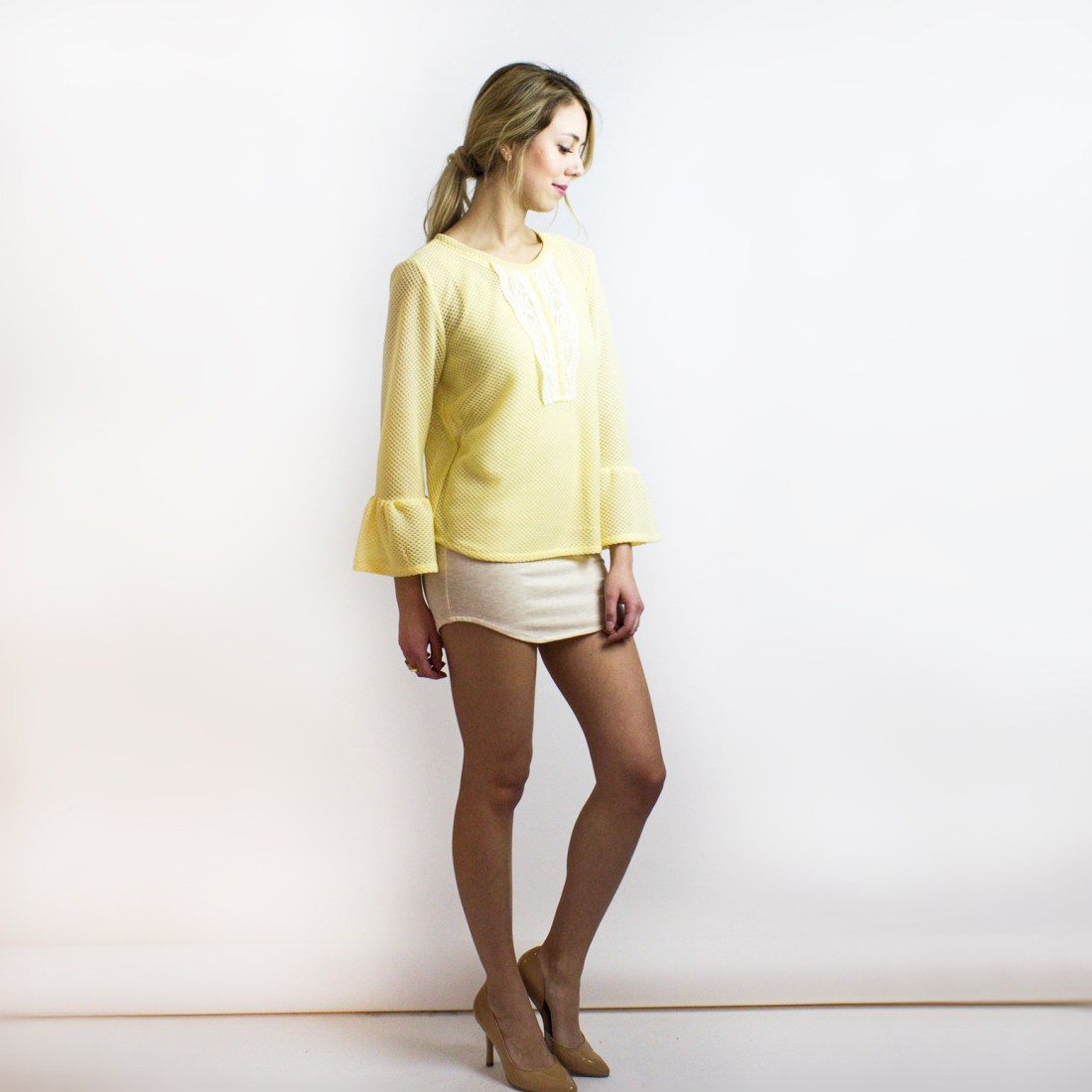 Tulip Soft Yellow Knit Top from Simone's Rose SS16 Collection | eco-conscious and sustainable women's fashion label made in downtown Toronto