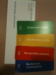 Google now sending out some nifty bookmarks eBookstore