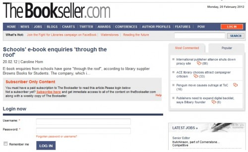 The Bookseller Now Has a Paywall Web Publishing