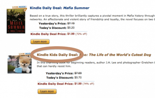 Amazon Launches Kid Daily Deal for the Kindle Amazon eBookstore