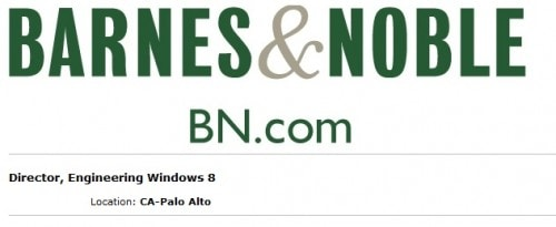Barnes & Noble Now Hiring Windows 8 Engineers For New Nook Devices Barnes & Noble e-Reading Hardware Microsoft