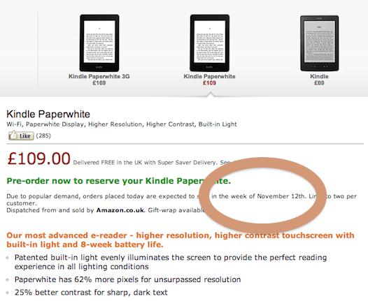 Kindle Paperwhite Pre-Orders Delayed by 3 Weeks in Europe