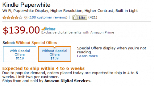 Kindle Paperwhite Delayed 4 to 6 Weeks Uncategorized