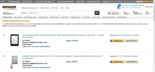 Amazon Launches New Page in the Kindle Store for Refurb Kindles Amazon e-Reading Hardware