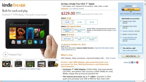 Kindle Fire HDX Arrives Today e-Reading Hardware