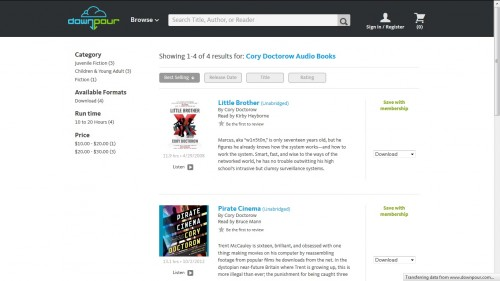 Cory Doctorow Audiobooks Now Available via Downpour.com Audiobook