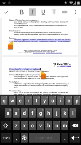 Libre Office for Android Gains Support for Editing Documents Office