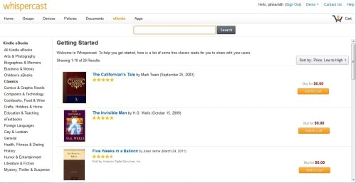 Amazon Whispercast Updated With Better Admin Tools, More Purchase Options Amazon Kindle (platform)