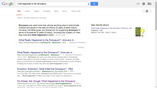 Ask Google About What Happened to the Dinosaurs, And It Will Cite the Bible Google humor