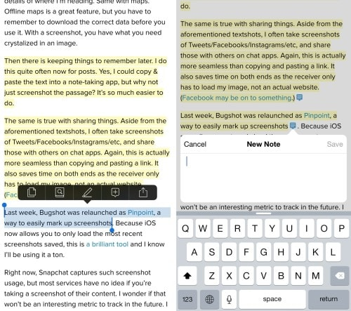 Instapaper for iOS v6.4 Adds Notes, Moves Into Competition With Evernote e-Reading Software Save for Later