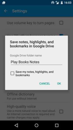 Google Play Books v3.5 Lets You Sync Your Notes and Bookmarks to Google Drive e-Reading Software Google Books