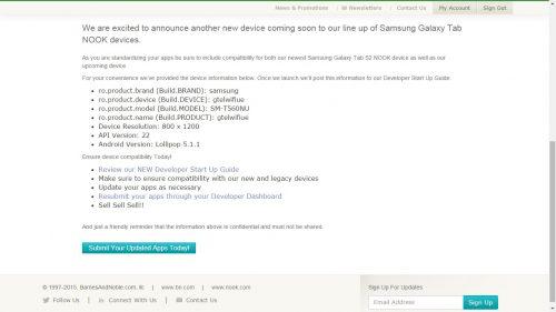 B&N Teases the Samsung Galaxy Tab E on Its Developer Portal Barnes & Noble e-Reading Hardware