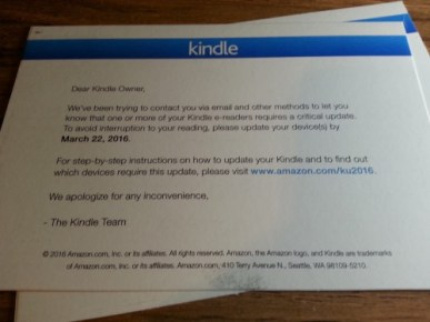 Amazon Now Sending Snail-Mail Reminders to Update Your Kindle Kindle