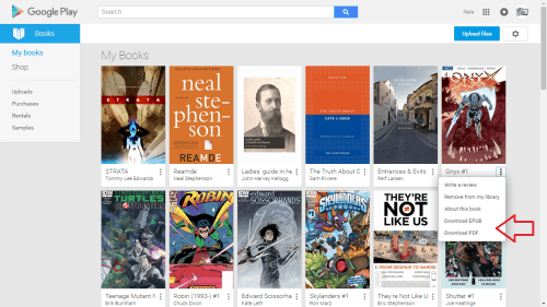 google play books download page