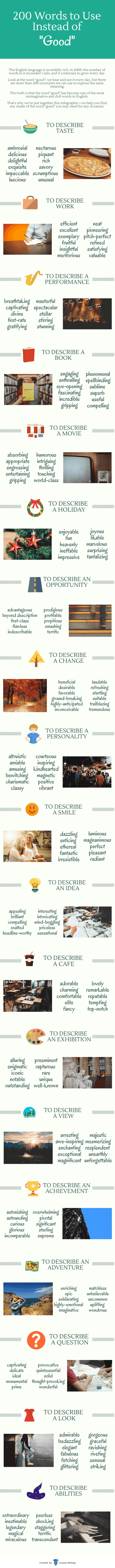 "Infographic: 200 Good Words to Use Instead of ""Good"" Infographic"