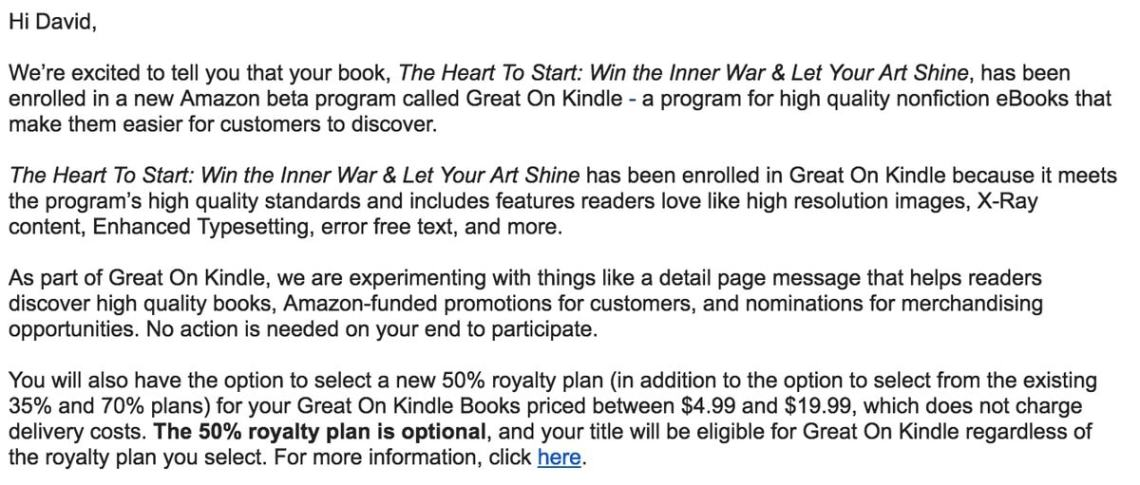 """Amazon's New """"Great on Kindle"""" Program Offers 50% Royalty to Non-Fiction Titles Kindle (platform)"""