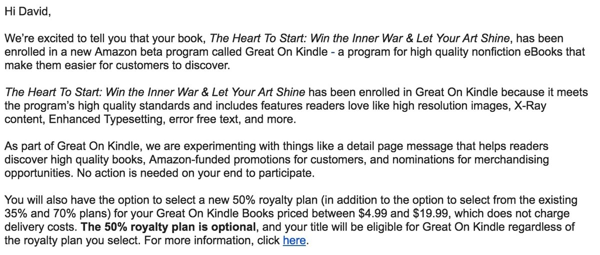 Amazon S New Great On Kindle Program Offers 50 Royalty To