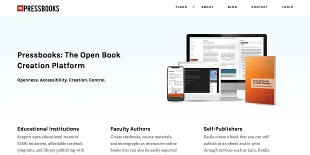 Pressbooks Updated with New Website Layout content creation ebook tools