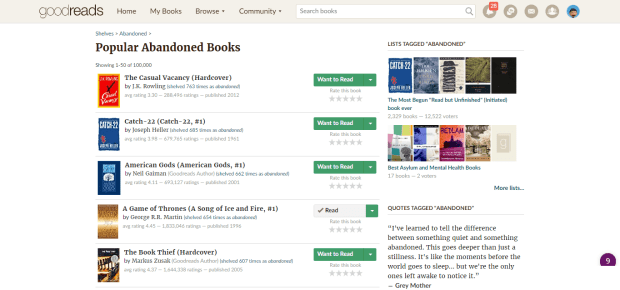 """The Casual Vacancy"" Tops Goodreads' List of Popular Abandoned Books Book Culture"