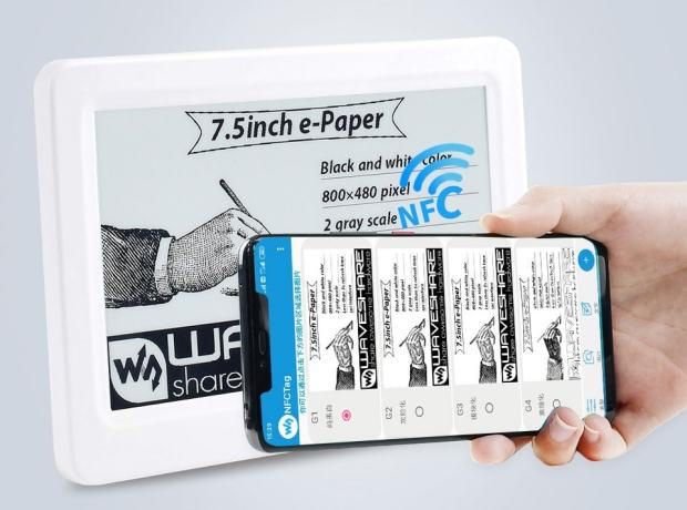 "Waveshare Now Sells NFC-Powered E-ink Screens in 7.5"", 4.2"", 2.9"", and 2.13"" Sizes E-ink"