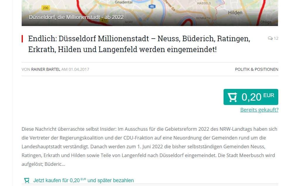 The Düsseldorfer jetzt mit Bezahlsystem Laterpay