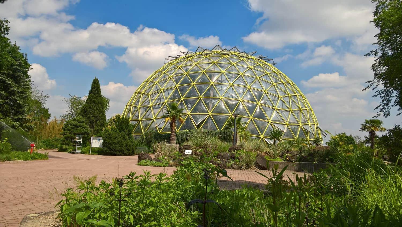Das berühmte Kuppelgewächshaus im Botanischen Garten der HHU