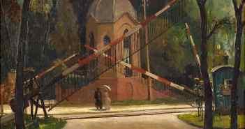 Gemälde von Hans Seyppel: Der alte Bahnübergang am Haus Meer in Büderich (1926)