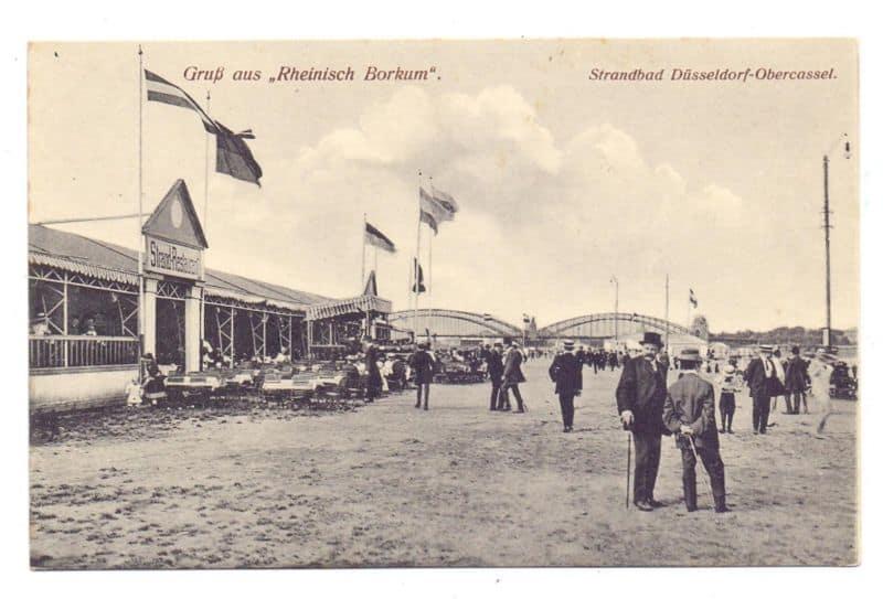 """Postkarte von 1910: """"Rheinisch Borkum"""", das Oberkasseler Strandbad"""