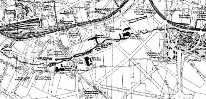 Der Stadtplan vom Ende des 19. Jahrhunderts zeigt die vier Papierfabriken entlang der Düssel
