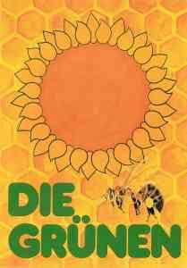 Postkarte der NRW-Grünen von 1980 - die Blume und die Biene
