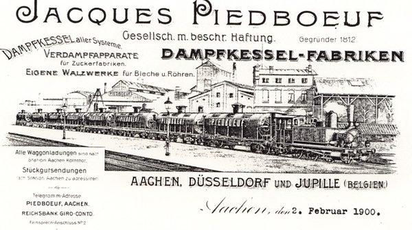 Reklamepostkarte von 1900 für die Piedboeuf-Unternehmen