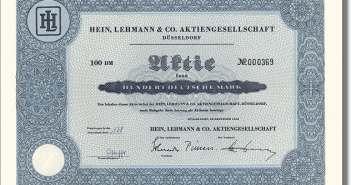 Eine historische Hein-Lehmann-Aktie