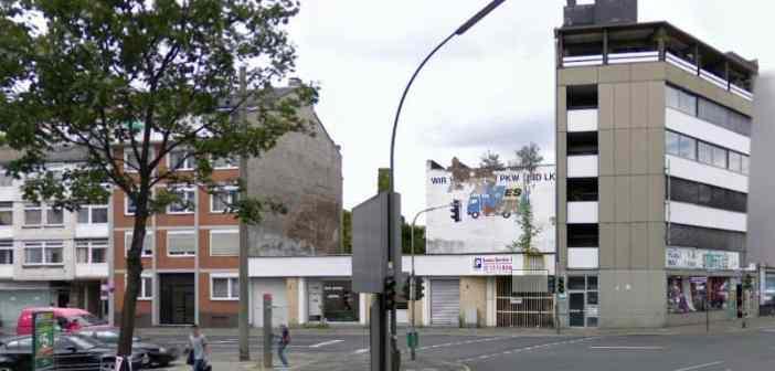 So kann man die Werbung für Katzur & Faltermaier an der Klosterstraße per Google Streetview sehen (Screenshot)