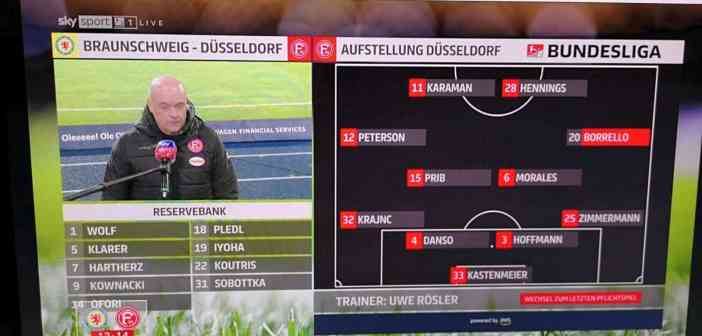 BTSV vs F95: Die Fortuna-Startaufstellung (Sky-Screenshot)