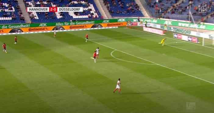 Hannover vs F95 - Flo Kastenmeier und sein Eigentor (Youtube-Screenshot)