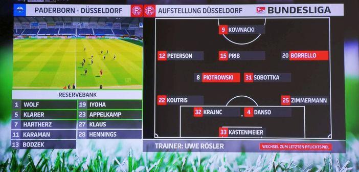 Paderborn vs F95: Die Aufstellung (Screenshot: Sky)